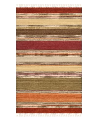 "Safavieh Striped Kilim Rug, Green, 2' 6"" x 4'"