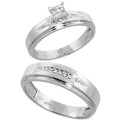 9ct White Gold 2-Piece Diamond Ring Set, 5mm Engagement Ring & 6mm Man's Wedding Band