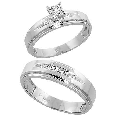 9ct White Gold 2-Piece Diamond Ring Set, 5mm Engagement Ring & 6mm Man's Wedding Band