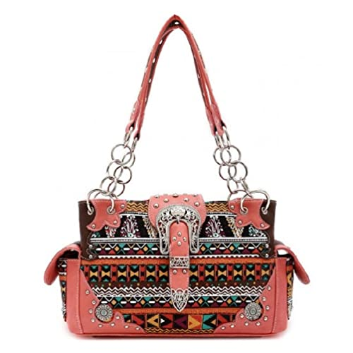 Western Aztec Print Buckle Belt Shoulder Handbag Purse