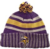 Minnesota Vikings NFL Licensed Reebok Solid Stripe Ribbed Cuff Ball Top Beanie at Amazon.com