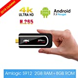 Android TV Stick H96 Pro Android 7.1 TV Box Mini PC Amlogic S912 Octa-core 64 Bit True 4K HDR TV Dongle [ 2GB+8GB ] Smart Set Top Box Support 2.4Ghz Wifi / 1000M LAN /Bluetooth 4.1 (Color: Black)
