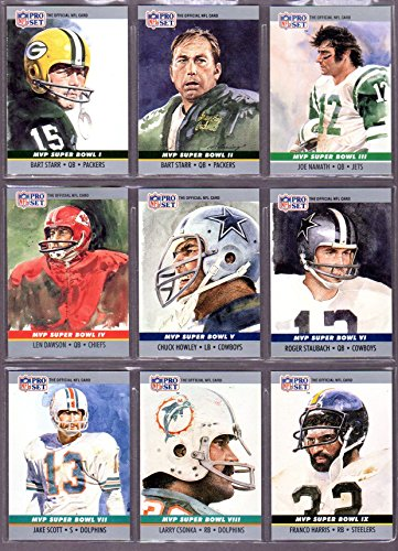 1990 Pro Set (25) Card (Super Bowl Most Valuable Player Sub Set) (See all 3 scans) featuring the first 25 MVP's Super Bowl #1 to #25 ***Bart Starr, Joe Namath, Len Dawson, Chuck Howley, Roger Staubach, Jake Scott, Larry Csonka, Franco Harris, Lynn Swann, Fred Biletnikoff, Harvey Martin, Terry Bradshaw, Jim Plunkett, Joe Montana, John Riggins, Marcus Allen, Richard Dent, Phil Simms, Doug Williams, Jerry Rice, Ottis Anderson** (Super Bowl Iii compare prices)