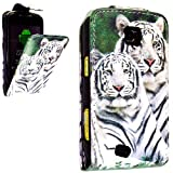 PU Leather Flip Case For SAMSUNG GALAXY MINI GT-S5570 S5570 VARIOUS DESIGNS + STYLUS PEN (TIGER FACE FLIP)