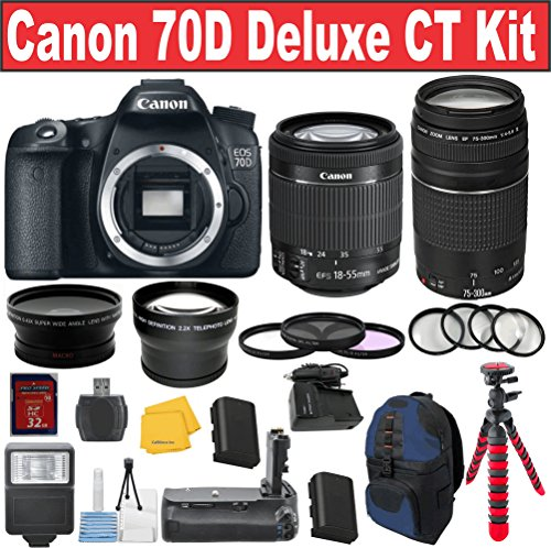 Canon Eos Rebel 70D Digital Slr Camera + Canon 18-55 Stm Lens + Canon 75-300 Iii Zoom Lens + .43X And 2.2X Auxiliary Lenses + 3Pc Deluxe Filter Kit + Macro 4Pc Lens Set + Deluxe Power Grip + Celltime Starter Kit With Cloth + Spider Bendi-Tripod + Premium