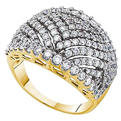 2.01 Carat (ctw) 14K Yellow Gold Round White Diamond Ladies Fashion Wedding Band 2 CT