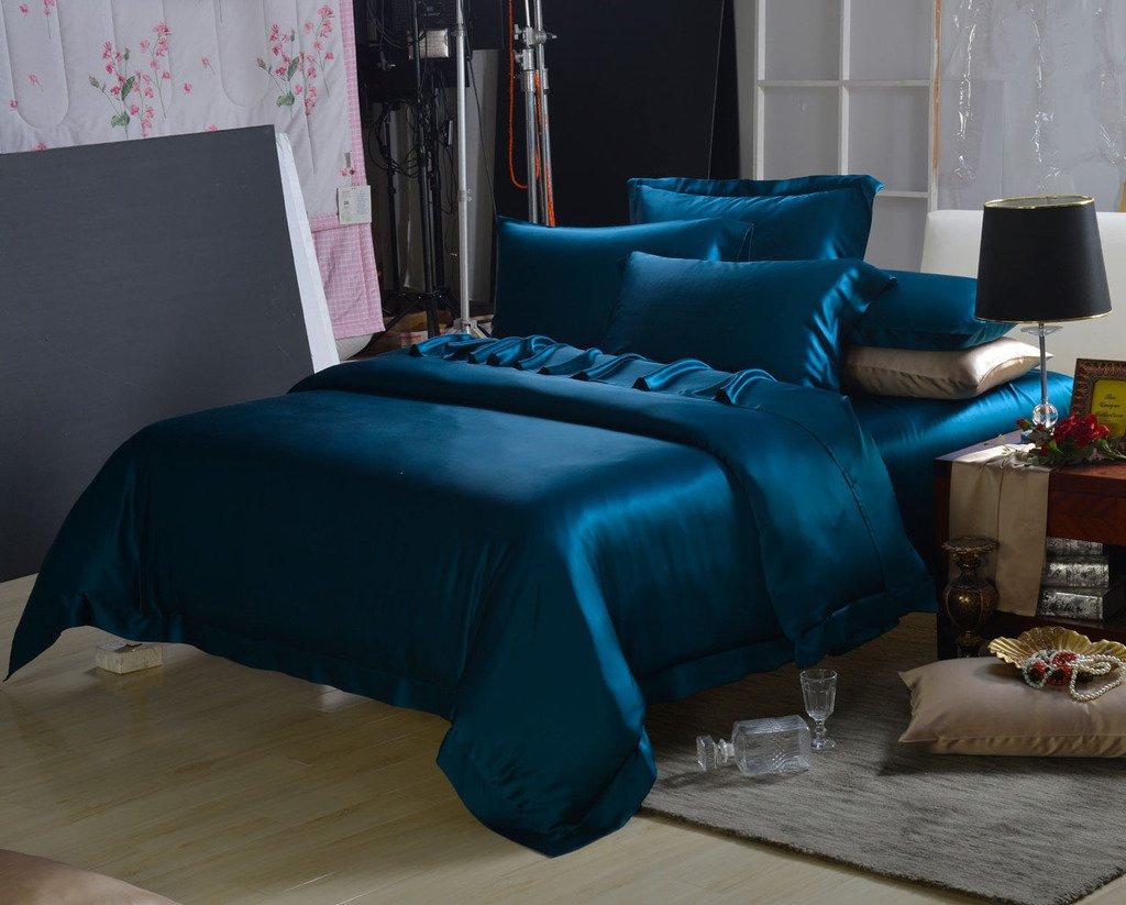 Orifashion Limited Edition 7-Piece 100% Silk Elegant Dark Blue Solid Color Bedding Set, California King Size