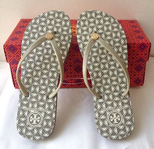 Tory Burch flat Flip Flops Grey Checks (gery sole) beach sandals slippers 6 7 8 9 10 NICE