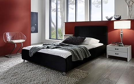 SAM® Polsterbett in schwarz, Bett mit gepolstertem Kopfteil im abgestepptem Design und pflegeleichter Oberfläche, stilvolle Chromfuße, Bettgestell auch als Wasserbett verwendbar, 100 x 200 cm [521739]