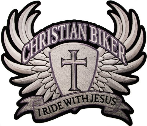 LARGE I Ride with Jesus Christian Biker Wings Cross Motorcycle Rider 10 X 8.5 inches Iron on BACK PATCH D33