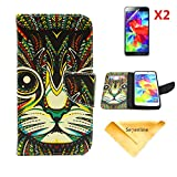 Se7enline Fashion Fresh Cute Flip Wallet Stand Case Cover for Samsung Galaxy S5 i9600 with PU Leather and Card Slots,[3 in 1 Bundle] Case+ 2 piece HD Clear Screen Protectors+Soft Clean Cloth, Bohemian Tribal Totem Cat Pattern