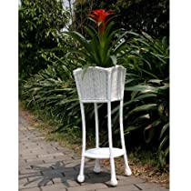 Wicker Lane ORI001-B White Wicker Patio Furniture Planter Stand