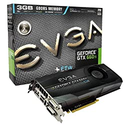 EVGA GeForce GTX 660Ti FTW 3072MB GDDR5 DVI-I, DVI-D, HDMI, DP, SLI Graphics Card (03G-P4-3668-KR) Graphics Cards 03G-P4-3668-KR