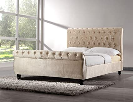 6FT SUPER KING SIZE CHESTERFIELD SLEIGH STYLE UPHOLSTERED VELVET FABRIC DESIGNER BED FRAME IN CHAMPAGNE