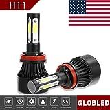 Globled H11 H9 H8 200W 20000LM 4 Sides LED Headlights Bulb 6000K Low Beam (Color: Black, Tamaño: H11)