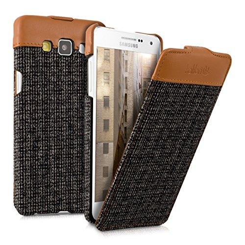 kalibri-Flip-Case-Hlle-Emma-fr-Samsung-Galaxy-A5-2015-Aufklappbare-Stoff-und-Echtleder-Schutzhlle-Tasche-im-Flip-Cover-Style-in-Braun-Anthrazit