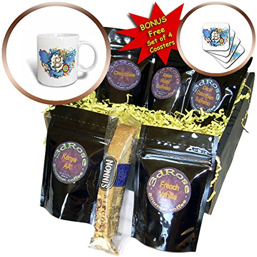 Anne Marie Baugh - Monograms - Blue Wings With A Gold Letter B Monogrammed Center - Coffee Gift Baskets - Coffee Gift Basket (cgb_236112_1) (Monogram Beverage Center compare prices)