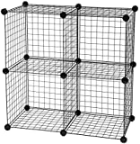 IRIS USA Medium Wire Cubes (Set of 4), Black