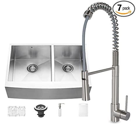 VIGO 33 inch Farmhouse Apron 60/40 Double Bowl 16 Gauge Stainless Steel Kitchen Sink with Laurelton Stainless Steel Faucet, Two Grids, Two Strainers and Soap Dispenser