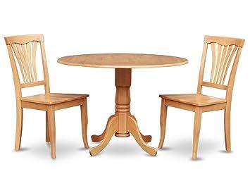 East West Furniture DLAV3-OAK-W 3-Piece Kitchen Nook Dining Table Set, Oak Finish