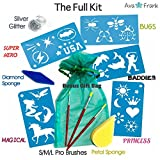 Face Painting Stencils Tool Kit Supplies,Bonus GIFT Bag, BEST 24 Boys and Girls Reusable Fantasy Designs, Brushes, Sponges, Glitter. USA Made Pro Body Paint Stencil Accessory Set: Kids, Adults Love it