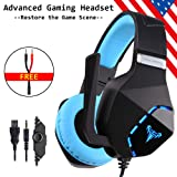 Cosbary Stereo Over Ear Gaming Headset with Mic Suitable for PS4,Xbox one,PC, Laptop,Mobile Phones(an Free 1-in-2 Adapter Included) Noise Canelling Mic-Headphones LED Light-Soft Memory Earmuffs (Color: Gaming Headset)