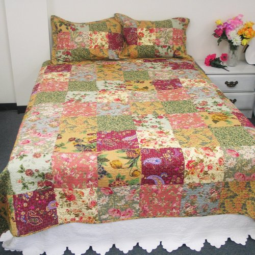[Flowers Season] 100% Cotton 3PC Classic Floral Vermicelli-Quilted Patchwork Quilt Set (King Size)