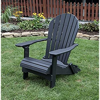 BLACK-POLY LUMBER Folding Adirondack Chair with Rolled Seating Heavy Duty EVERLASTING Lifetime PolyTuf HDPE - MADE IN USA - AMISH CRAFTED