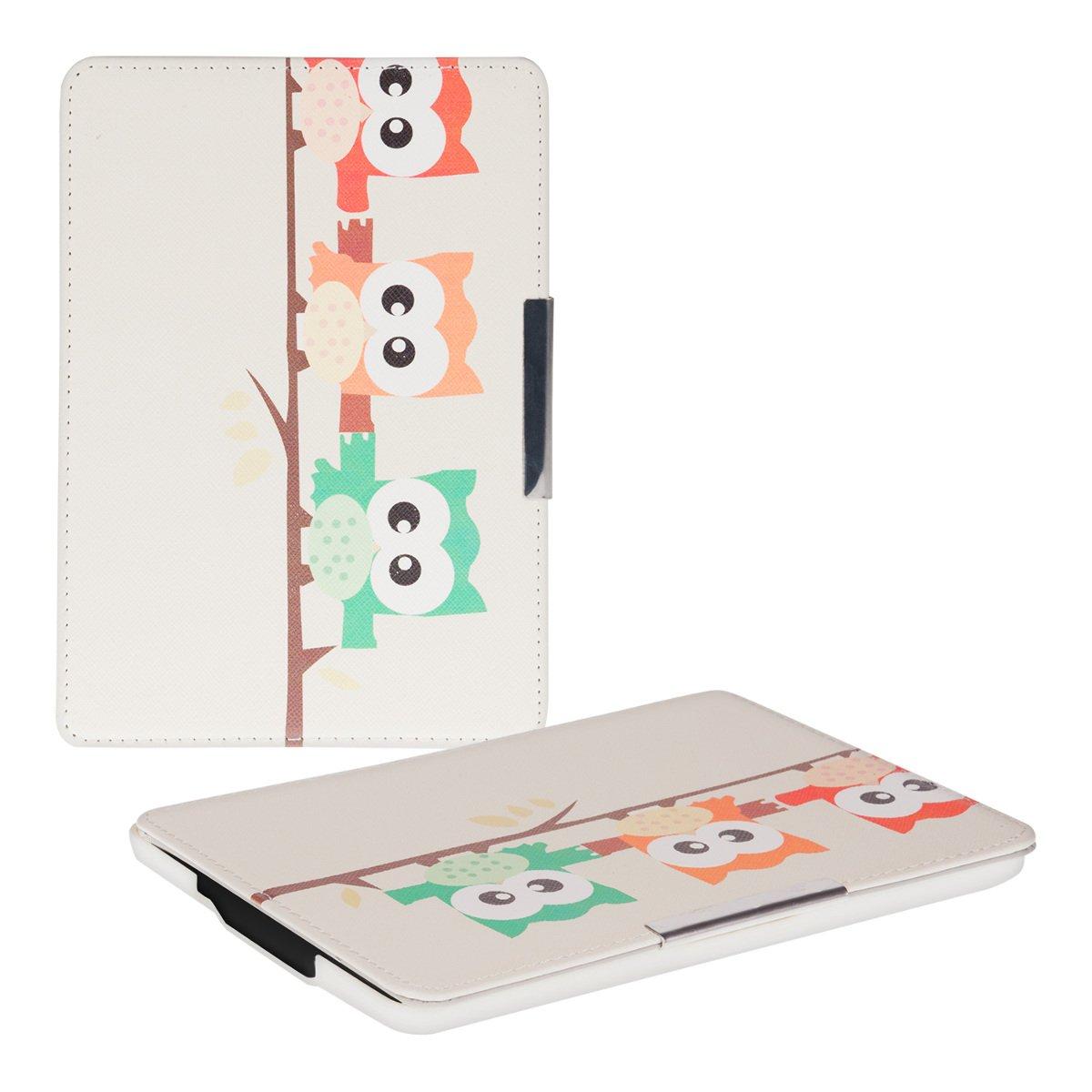 kwmobile® Elegante funda de cuero para el Amazon Kindle Paperwhite (2012 / 2013 / 2014) en Diseño de búho Blanco con un práctico cierre magnético  Electrónica Comentarios de clientes y más información