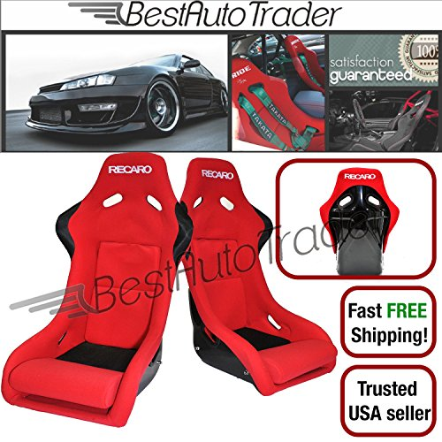 Pair Recaro SPG Red Fabric with Frp Shell Backing Racing Bucket Seats Jdm Omp (Red Bucket Seats For Racing compare prices)