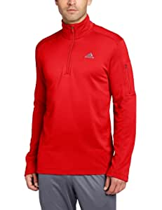 adidas Men's Black Friday Quarter Zip Jacket, Light Scarlet/Dark Onix, Medium
