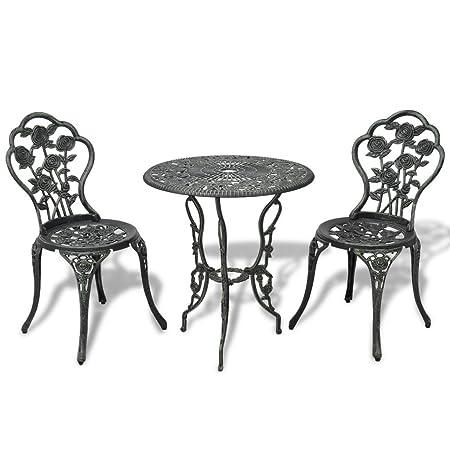 vidaXL 3tlg. Bistro Set Tisch 2 Stuhle Essgruppe Sitzgruppe Gartenmöbel Grun Aluguss