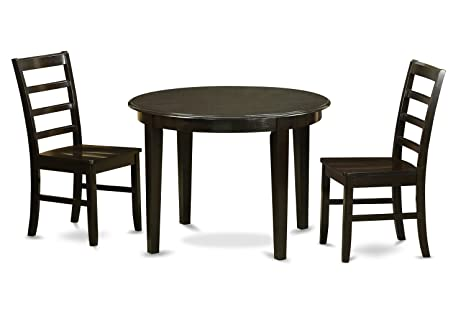 East West Furniture BOPF3-CAP-W 3-Piece Kitchen Table and Chairs Set, Small, Cappuccino Finish