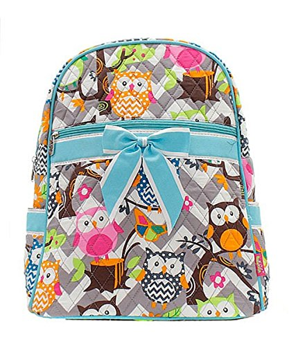 Owl Chevron Stripe Small Quilted Backpack (BLUE)