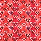 Free Spirit Hallmark Valentine Wavy Hearts Red Fabric Yardage