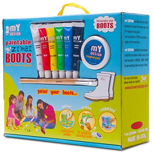 My Design Bambini Bambine Zimbi verniciabile pioggia stivali di gomma, multicolore (Multicoloured), 33 EU