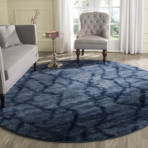 Safavieh Retro Collection RET2144-6570 Modern Abstract Blue and Dark Blue Round Area Rug (8' Diameter) 0