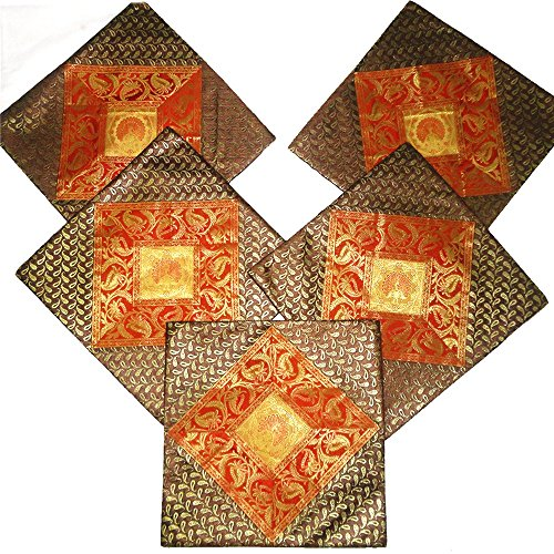 Kriti Creations Set Of 5 Rusty Brown Cushion Covers (16*16 IN)
