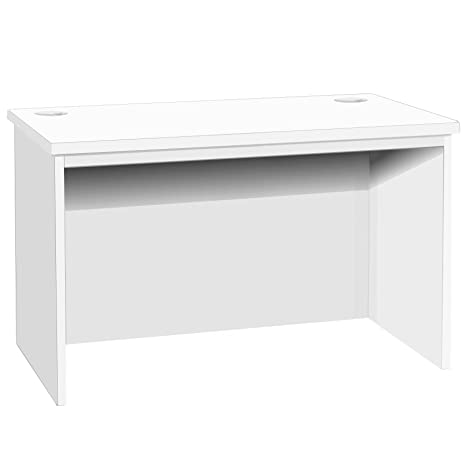 B-RDK-IN-WH White Computer Desk Table Unit Kids Living Room Home Office Furniture UK Contemporary Big For In Cabinet PC Bedroom Small Space Laptop Gamers DJ Decks imac Bay