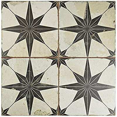 "SomerTile FPESTRN Astre Ceramic Floor and Wall Tile, 17.625"" x 17.625"", Cream/Beige/Black"