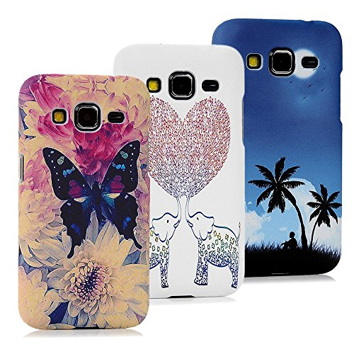 Galaxy Core Prime Case-MOLLYCOOCLE® 3 X Ps Colorful Painted Damask Design Pattern Rubber Coating Clear Ultra Slim Fit PC Hard Hybrid Case Cover for Samsung Galaxy Core Prime SM-G360F G3606 G3608 G3609