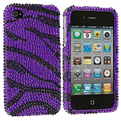 myLife Black and Purple Zebra Stripes - Rhinestone Series (2 Piece Snap On) Hardshell Plates Case for the iPhone 4/4S (4G) 4th Generation Touch Phone (Clip Fitted Front and Back Solid Cover Case + Rubberized Tough Armor Skin)