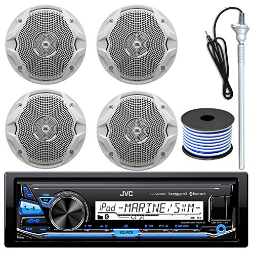 Click to buy JVC KD-X33MBS MP3/USB/AUX Bluetooth Marine Boat Yacht Stereo Receiver Bundle Combo With 4 (2 Pairs) JBL MS6510 150 Watt 6.5