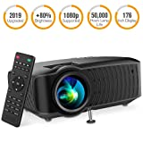 DBPOWER Video Projector, 120 ANSI 3400L 1080P Full HD LED Movie Projector, 50,000 Hours Lamp Life Home Theater Video Projector Compatible with HDMI/AV/USB/SD/VGA/TV/Laptop/Game (Color: Black)