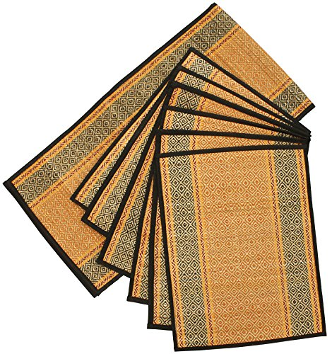 """Clearance Kitchen Items"" Dinner Decor Placemats & Table Runner Set - Souvnear Table Mats Set Of 6 - Reversible Orange, Black & Red - Natural Handmade Table Placemat - Kitchen Accessories"