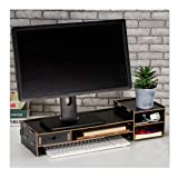 Wood Monitor Stand Riser with Adjustable Storage Organizer Laptop Stand Desk Organizer for Home Study Dorm Office (Black) (Color: Black)