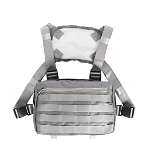 Tactical Chest Rig, Heavy Duty Radio Chest Harness, Chest Front Pack Pouch Holster Vest Rig for Two Way Radio with Front Pouches and 2 Large Pockets for Universal Walkie Talkies Accessories (Color: Grey, Tamaño: 11.8x7.8)