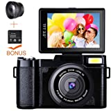 Digital Camera Camcorder, Weton Full HD 1080P 24.0MP Video Camera 3.0 Inch Flip Screen Vlogging Camera Camcorder with Retractable Flashlight for YouTube (Two Batteries Included) (Color: P1-Black)