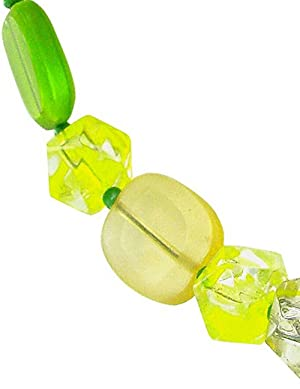 Linpeng Women's Bracelet/Cat Eye Button Toggle/Mixed Style Glass Beads/Size 8 to 13mm / Length Around 7.5 / Color: Lime / 1PC (Color: Lime)