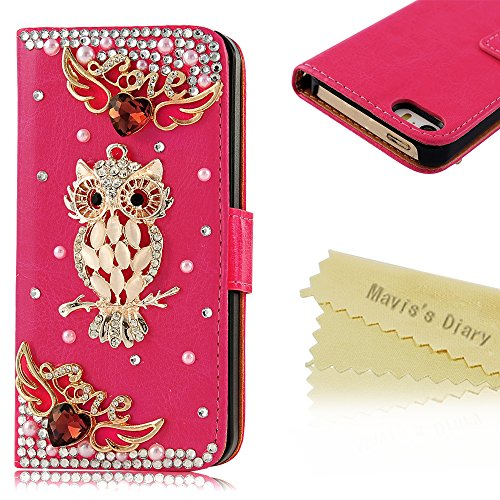 Iphone 5-Mavis'S Diary 3D Handmade Owl Rhinestone Hot Pink Pu Leather Wallet Type With Magnetic Snap Case Cover For Iphone 5 5S With Soft Clean Cloth (Pattern-1)